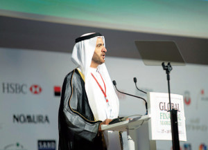 HE Nasser Alsowaidi, the Chairman of NBAD Board of Directors and Chairman of the Abu Dhabi Department of Economic Development, speaks at 2013 GFMF