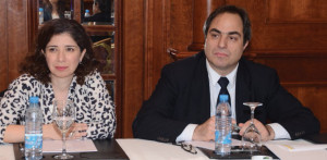From left: Katia Massad Touma, Deputy Head of Group Financial Institution Dept, Byblos Bank SAL and Georges Andraos, Head ofInternational Banking Division, Fransabank SAL