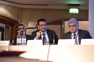 From right: Mushtak Parker, Jaseem Ahmed, Secretary General IFSB and Emad Al Monayea, CEO, KFH Investment