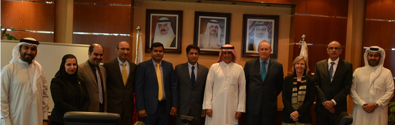 Minister of Industry, Commerce and Tourism – HE Zayed Alzayani (5th from the right) with President of AmCham Bahrain – Mr. Qays Zu'bi (4th from the right) and WestPoint Home Managing Director, Bahrain Manufacturing & Operations – Mr. Imran Ahmad Cheema  (6th from the right) and WestPoint Home General Manager Human Resources & Admin – Mr. Aziz Ahmed (7th from right) with Ministry and AmCham Staff.